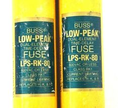 LOT OF 2 COOPER BUSSMANN LPS-RK-80 LOW-PEAK TIME DELAY FUSES CLASS RK1 LPSRK80 image 3