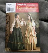 SIMPLICITY 3809 Andrea Schewe Renaissance Costume Skirt Blouse Hat Size ... - $6.79