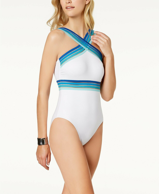 Kenneth Cole  Sz M White Multi One-Piece Illusion-Striped Swimsuit KC8E108