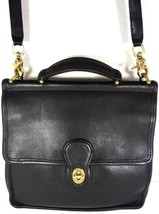 Coach Vintage Willis Smooth Black Leather Shoulder Bag Brass HW - $126.09