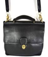 Coach Vintage Willis Smooth Black Leather Shoulder Bag Brass HW - $126.09