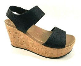 Skechers 32977 Black Luxe Foam High Wedge Platform Slip On Sandals - $64.00