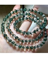 7.5mm Natural Green Phantom Quartz Crystal Round Beads Bracelet  0607C82 - $163.35