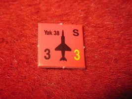 1988 The Hunt for Red October Board Game Piece: Yak 38 red Square Counter - $1.00