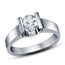 14K White Gold Finish 925 Silver 1ct Simulated Diamond Solitaire Engagement Ring - $69.30