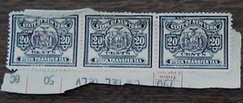 Nice Vintage Set of 3 Used New York Stock Transfer 20 Cent Stamps, GD CND - $3.95