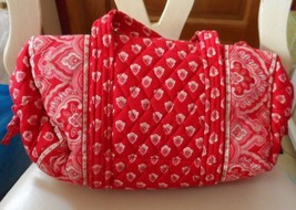 Vera Bradley small duffel style handbag in retired Nantucket red - $26.50