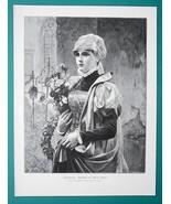 LOVELY MAIDEN St John's Day Flower Bouquet - VICTORIAN Era Engraving Print - $21.60
