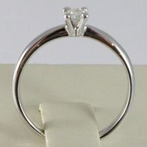 WHITE GOLD RING 750 18K, SOLITAIRE, STEM ROUNDED, DIAMOND CARAT 0.17 image 4