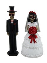 """Day of the Dead Skeleton Wedding Couple Decorative Figurine 5"""" Tall 