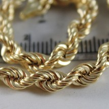 18K YELLOW GOLD BRACELET BIG 5 MM BRAID ROPE LINK, 7.50 INCH LONG, MADE IN ITALY image 2