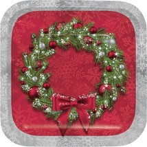 Welcoming Wreath 8 Ct Dessert Cake Plates Christmas Holiday - $4.39