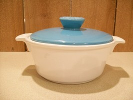 Vintage California Pottery Calif S 51 Turquoise and White Lidded Casserole Dish - $29.00