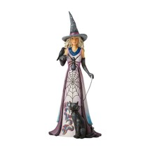 Jim Shore Heartwood Creek Witch w Spider Web Skirt & Star Studded Hat Halloween