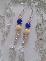 Long Dangle Wire Macrame, Bead, and Swarovski Crystal Earrings - $20.00