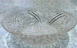 Vintage EAPG 'Stars & Bars' Clear Pressed Glass Serving Bowl w/ Scallope... - $30.95