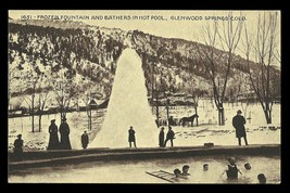 Glenwood Springs Postcard Colorado Bathers in Pool Frozen Fountain CO PC - $15.99