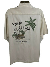 Vintage Tommy Bahama Beige Hawaiian Aloha Silk Button Front Shirt Large Pocket - $113.84