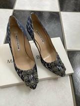 NIB 100% AUTH Manolo Blahnik Hangisi Metallic Leopard Satin Pumps Shoes 37 $985  - $598.00