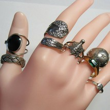Vintage 7 Piece Lot Sterling Silver Band Rings Spoon Braid Turtle Dome 2... - $64.35