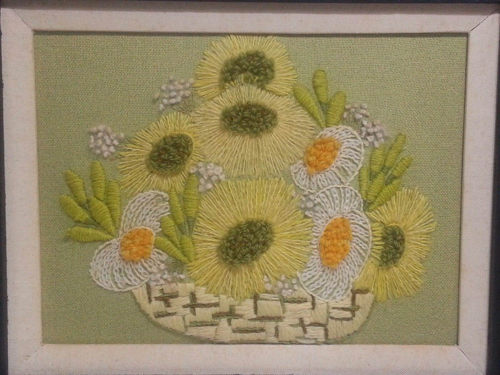 Basket of Flowers 70's Crewel embroidery finished with heavy thick wood frame