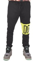 Dope Couture Color Blocked Black Neon Yellow Sweatpants Jogging Pants NWT image 1