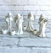 Vintage CCCC White Angels Musicians Ceramic Taper Candle Holders 4 Piece... - $23.76