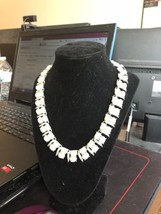 Elegant Rhinestone Faux Pearl Necklace & Earrings Vintage Silver Tone De... - $17.59