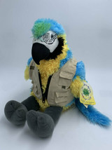 NWT Build A Bear Blue Yellow Macaw Parrot Plush With Safari Jacket - $19.99