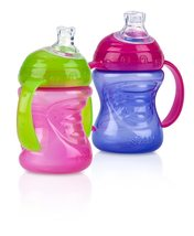 Nuby 2-Pack Two-Handle No-Spill Super Spout Grip N' Sip Cups, 8 Ounce, - $15.00