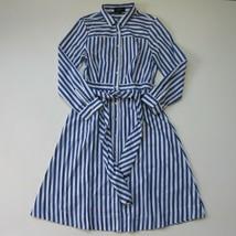 NWT J.Crew Tie Waist Shirt Dress in Lighthouse Stripe Button Down Shirt ... - $58.90