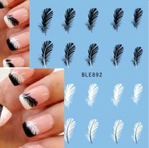 HS Store - 1pcs STZ-629 Beautiful Black White Feather Nail Art Decal Stickers image 2