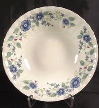 Royal Albert Meadowcroft Cereal Bowl Bone China England Gold Trim Blue F... - $22.76