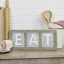 Wood EAT Sign with Metal Word Art Decorative Wall Mount Kitchen Plaque - $45.95