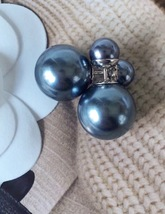 AUTHENTIC Christian Dior GRAY Mise En Dior Tribal Pearl Earrings  - $419.99