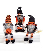 """Set of 3 - 16"""" Halloween Gnomes Shelf Sitter w White Beard and Bulbous Nose"""