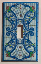 Stained blue glass art Light Switch Outlet Wall Cover Plate Home Decor