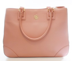 Tory Burch Robinson Tote Bag Rose Sachet Pale Pink Leather Large Handbag - $359.91