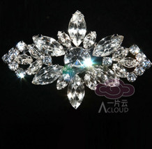 Rhinestone Crystal Bridal Wedding Cake Belt Silver Tone Vintage Brooch Pin - $9.49