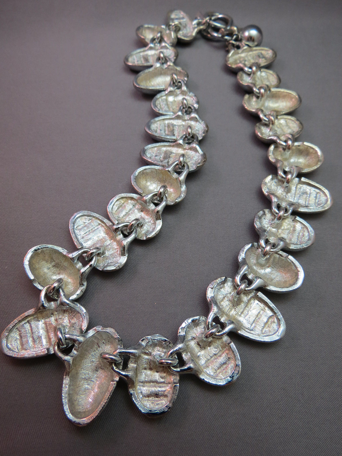 """Anne Klein Couture Silver Necklace Striped Stone Wide Collar 18"""" Chunky VTG Lion"""