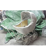 Vintage White Wicker Stroller Buggy with good rubber wheels - $395.99