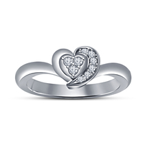 14k White Gold Plated 925 Pure Sterling Silver Heart Shape Diamond Wedding Ring - $49.80
