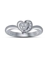 14k White Gold Plated 925 Pure Sterling Silver Heart Shape Diamond Weddi... - $49.80