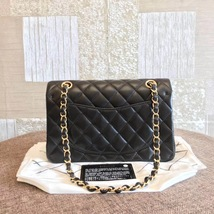 NEW AUTH CHANEL 2019 SMALL Quilted Lambskin Classic Black Double Flap Bag GHW image 2