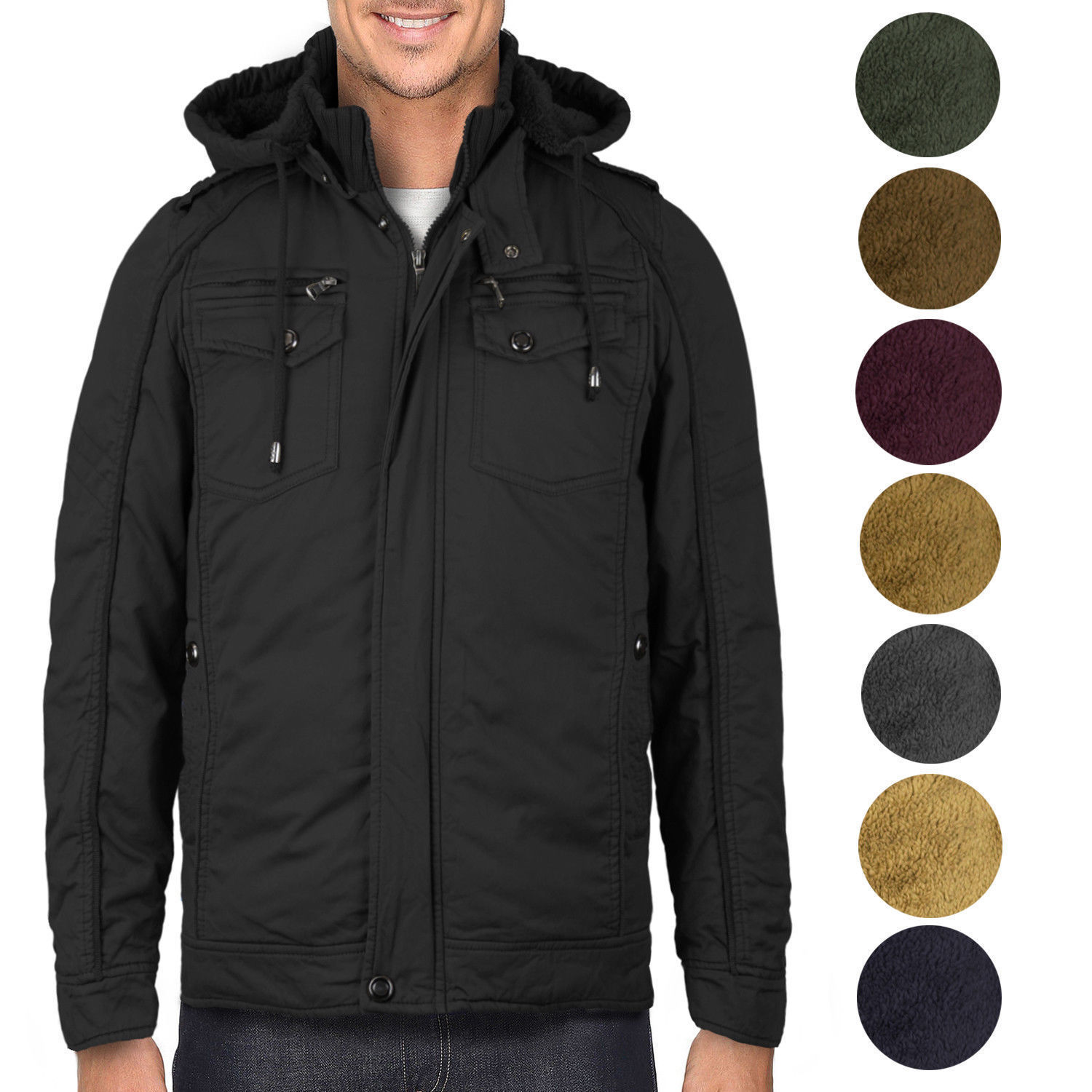 Maximos Men's Premium Hooded Multi Pocket Sherpa Lined Bomber Jacket Sahara-01