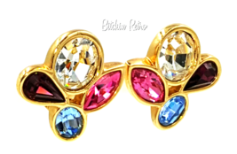 Vintage Swarovski Crystal Earrings With Multi Color Abstract Design Sign... - $30.00