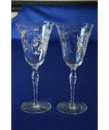 2 Crystal Daisy Leaf Wine/Water Glasses - $14.85