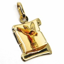 18K YELLOW PARCHMENT GOLD MEDAL 18 mm, JESUS CHRIST, CROSS, VERY DETAILED ENAMEL image 1