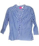 Xhilaration Blue & White Striped Shirt 3/4 Sleeve Shirt Sz L - $4.74