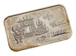 MERRY CHRISTMAS 1989 By Crown Mint 1 oz. Silver Art Bar  - $54.45